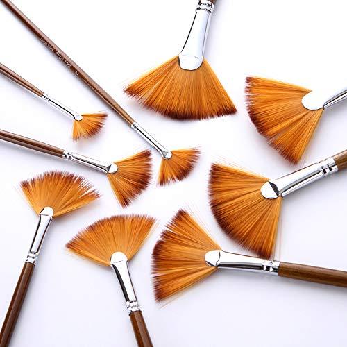 Aibecy Juego de pinceles de pintura para abanico, cepillo de pelo de nailon suave para acuarela, aceite, acrílico, gouache, suministros de 9 unidades