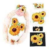 Galabloomer Newborn Receiving Blanket Headband Set Flower Print Baby Swaddle Receiving Blankets Sunflower