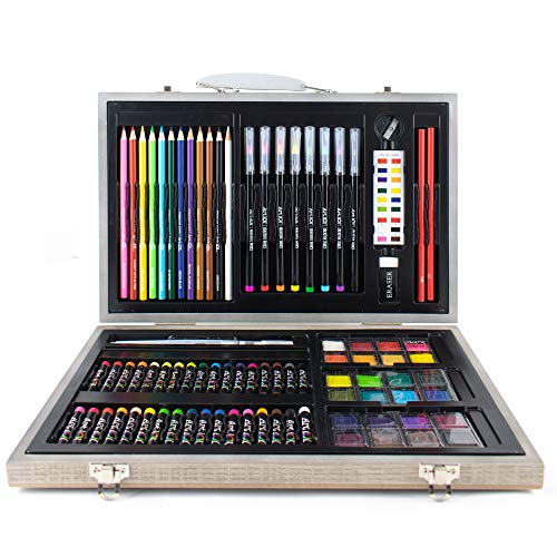 Art 101 Watercolor, Draw, and Sketch 88 Piece Art Set in a Wood Carrying Case