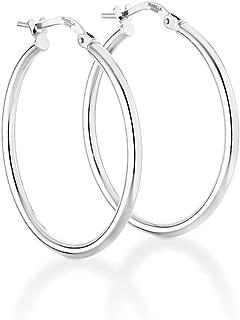 925 Sterling Silver Italian 2mm High Polished Round Tube Hoop Earrings for Women Men Girls 15mm, 20mm, 30mm, 40mm, 50mm, 60mm Lightweight Earrings Made in Italy