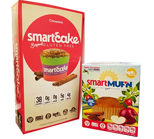 Smartmuf'n and Smartcake bundle: 1x 3-pack Apple Cinnamon Smartmuf'n box and 1x 4-pack of Cinnamon Smartcake, keto and gluten free