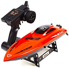 2.4GHZ High Speed: 2.4Ghz marine radio control system supports multiple rc boats to race synchronously! The max speed up to 30km/h allow you blow other remote control boats out of the water! Ideal rc racing ship toys for Pool and Outdoor! Dual-Lockin...