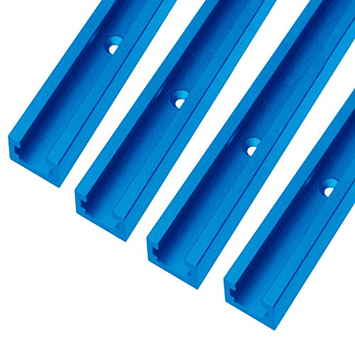 T-track 48 inch with Wood Screws–Double Cut Profile Universal with Predrilled Mounting Holes -Woodworking and Clamps -High Strength Aluminum Alloy 6063 –Frosted Surface Anodized - 4 PK (Blue)