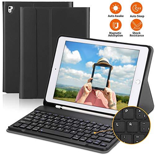 PEYOU Teclado para iPad 2018, Funda con Teclado Español Bluetooth Inalámbrico, para iPad 9.7/Pro 9,7/Air 2/1/2018 (6th Gen)/ 2017, con Ranura para Apple Pencil, Smart Auto Sleep-Wake, Desmontable