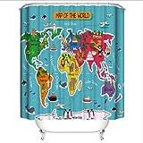 Duschvorhang mit Cartoon-Tier-Weltkarte, Polyester-Stoff, Badvorhänge mit Haken, waschbar (B x L) 178 x 182 cm, 12 Stück Kunststoffhaken