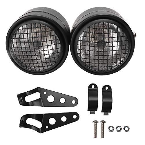 Faro anteriore doppio per moto, faro anteriore doppio doppio rotondo da 2,5 pollici universale in ferro per moto(Black Grille+White)