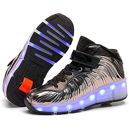 YAWJ Zapatos Multiusos 2 En 1 Patines Zapatillas Quad Roller Polea Los Patines Hielo para El Adulto Deportes Al Aire Libre De Deporte Rodillo Shoes Sneakers (Color : Black Single Wheel, Size : 37)