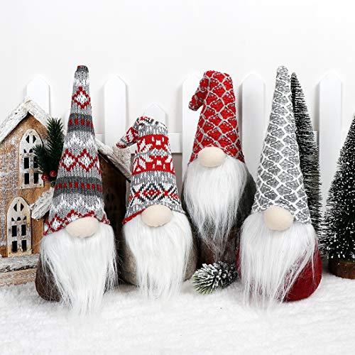 EDLDECCO Christmas Gnome Pack of 4 Plush Yule Santa Nisse Figurine Plush Swedish Nordic Tomte Scandinavian Elf X'Mas Holiday Party Home Decor Ornaments (Grey, 4)