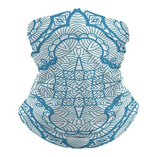 DKE&YMQ Pañuelo multifuncional unisex con patrón elástico, transpirable, para deportes, con resistencia a los rayos UV, línea de patrón azul eléctrico, color azul