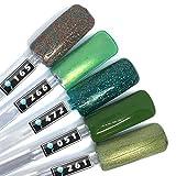 Color Gel 5er Set (je 5ml): Special Green Mix - Gel Grün, Gel Dunkelgrün, Colorgel Grün, Für UV & LED, Made in Germany