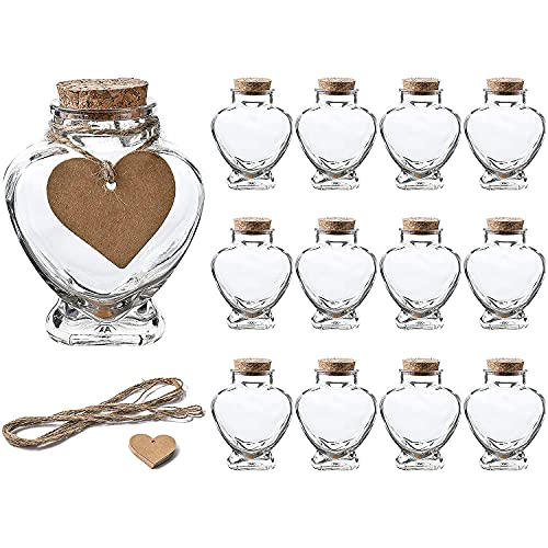 5 OZ Heart Shaped Glass Favor Jars with Cork Lids,Glass Wish Bottles with Personalized Heart Shaped Label Tags and String Set of 12