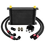 EVIL ENERGY 15 Row AN10-10AN Oil Cooler Kit Universal Engine Transmission Aluminium Alloy Black