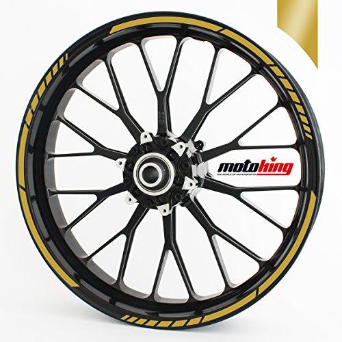 """Motoking Adesivi per Il Bordo del cerchione GP - Oro - Kit Completo per Cerchioni da 15"""" a 19"""""""