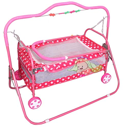 BACHAA JI TOY Kids jhulla for Baby-New Born Baby-Cradle Mosquito net with Swing-palna Kids for Baby-jhula Babies Stylish (Pink)