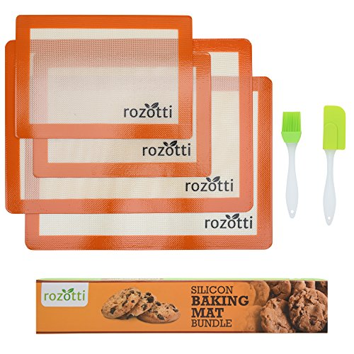 Rozotti Silicone Baking Mat Bundle (6-Piece Set) 2 Half and 2 Quarter Sheets