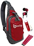 Bastex On The GO Bundle, Red Shoulder Travel Sports Backpack. with LED Mini Flashlight, and Stylus, Wired Ear Bud Headphones with Mic