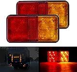 CICMOD Luci Posteriori LED Fanali 12V Fanale Posteriore LED Indicatori di Parcheggio 10 LED Giallo e Rosso per Rimorchio Caravan Camion Trattore Autocarro