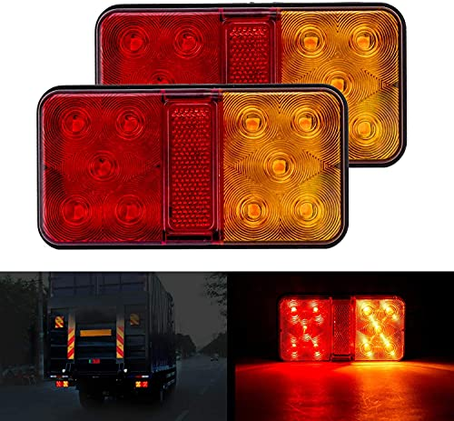 CICMOD 2PCS Feux Arrières LED Multifonctionnel Feux Remorque LED 12V Étanche Clignotant de Position Stationnement pour Camion Remorque Caravane Tracteur