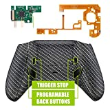 xbox one carbon fiber shell - eXtremeRate Lofty Programable Remap & Trigger Stop Kit, Mod Chips & Redesigned Back Shell & Side Rails & Back Buttons & Trigger Lock for Xbox One S X Controller 1708 - Black Silver Carbon Fiber