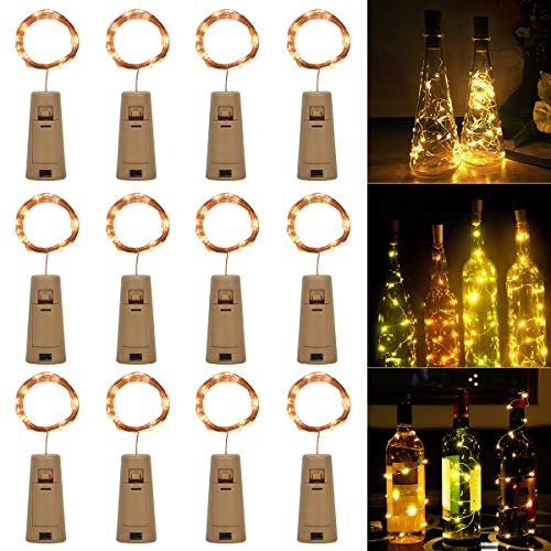 12x 20 LED Flaschen Licht,SanGlory Lichterkette für Flasche Warmweiß LED Lichterketten Stimmungslichter Weinflasche Kupferdraht,batteriebetriebene für Party,Weihnachten,Halloween,Hochzeit,DIY Dekor