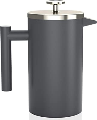 Stainless Steel French Press with Thermometer - Insulated Coffee French Press - Stainless Steel Coffee Maker (1.0L | 34 fl oz | Gray)