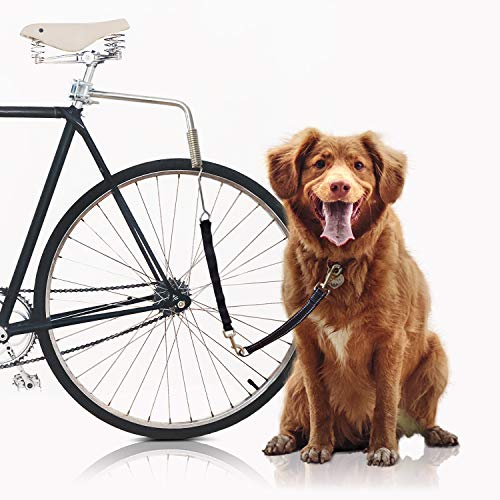 Bella & Balu Hundeleine fürs Fahrrad | Fahrradleine inkl. Befestigung für Sattelstange, Abstandhalter, Kurzführer, Spiralfeder, Leine und Reflektoren – Für sicheres Radfahren mit Hund