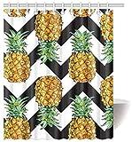 Piña de Purpurina Dorada (no Real) Fruta en Puntos en Blanco y Negro Decoración de Cortina de Ducha Impermeable Juego de baño de Tela con Ganchos, 72 (Ancho) x 84 (Altura) Pulgadas, diseño # 9,60x72