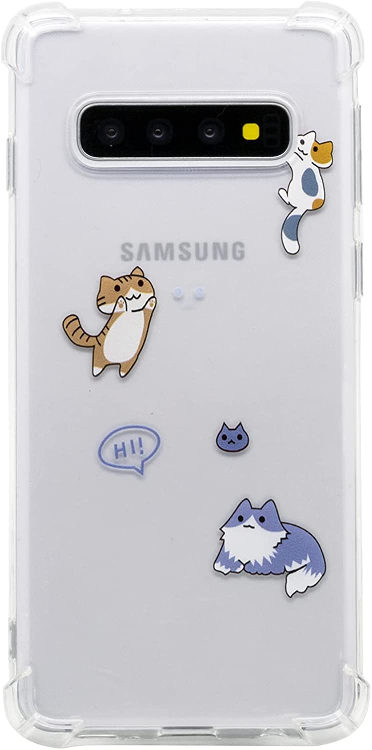 TNCYOLL Compatible with Samsung Galaxy s10 Case,Fun Cool Cute Cat Clear Design Shockproof Bumper Protective Cell Phone for Samsung Galaxy S10 6.1 Inch