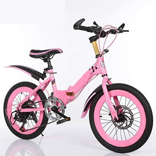ANLW Kinder Klapprad Mountain22 Zoll 7-Gang-Fahrrad-Adjustable mit Basket Kinder-Fahrrad,Rosa
