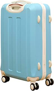 XIAO Suitcase for casual fashion carrying rotating pu expandable suitcase, lightweight trolley case, black, size (35 * 23 * 50) cm Happy day (Color : Light blue, Size : 17 * 11 * 24 inch)