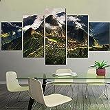 5 piezas Lienzo Impresión en HD Pintura Decoración de la sala de estar Machu Picchu Perú Imagen de la montaña Nube Paisaje de montaña Póster Wall-150 * 80cm-Framed