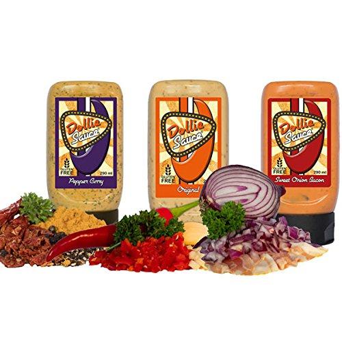 Dollie Sauce 3er Set - Original, Sweet Onion Bacon, Pepper Curry - 3 x 290 g