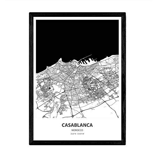 Nacnic Poster con Mapa de Casablanca - Marruecos. Láminas de Ciudades de África con Mares y ríos en Color Negro. Tamaño A4 con Marco