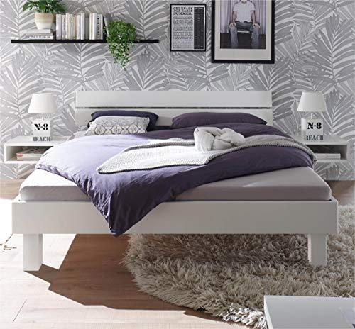 Preisvergleich Produktbild Hasena Fine Line Bett Prato 20 Kopfteil Ello Buche weiß deckend 100x200