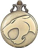 AMAFS Reloj de Bolsillo de Cuarzo marrón Antiguo para Hombre, Bolsillo de Reloj con patrón de Cabeza de Leopardo único para Hombre, Reloj Colgante Grabado con Regalo Creativo para niños