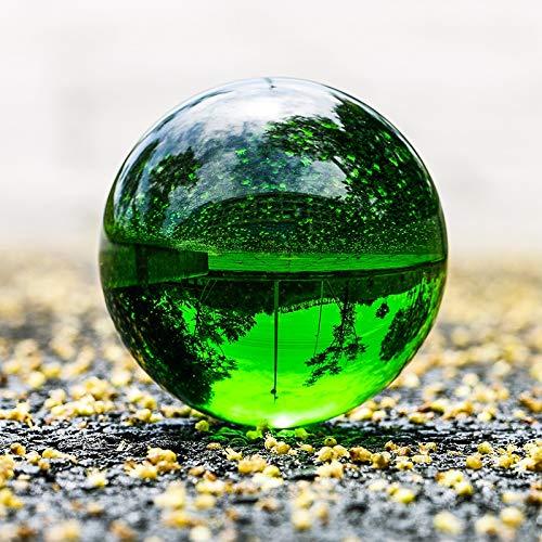 OMIDM Bola de Cristal 30mm-100mm Bola de Cristal Esfera Verde Oscuro Bola de Cristal Cura decoración de Piedra Feng Shui Bola de Cristal Natural (Color : 60mm, Size : Wooden Base)