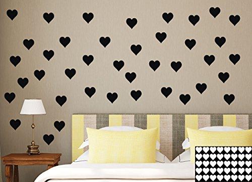 Kleb-drauf® - 40 Herzen/Mint - matt - Aufkleber zur Dekoration von Wänden, Glas, Fliesen und allen anderen glatten Oberflächen im Innenbereich; aus 19 Farben wählbar; in matt oder glänzend