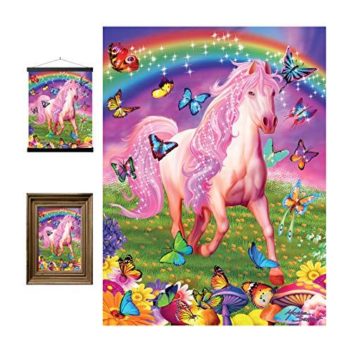 3D LiveLife Lenticular Cuadros Decoración - Pony rosa de Deluxebase. Poster 3D sin marco de caballos. Obra de arte original con licencia del reconocido artista, Michael Searle