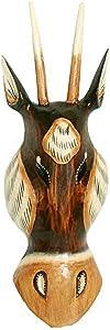 Maske Holzmaske Antilope Kopf Wanddekoration aus Albesia Holz, Höhe 30 cm, Kunsthandwerk im afrikanischen Stil aus Bali Lombok handgefertigt