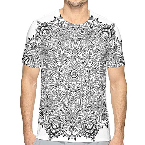 Mens 3D Printed T Shirts,Lace Like Macro Round Tribal Motif with Mix Paisley Leaf Elements Kitsch Image XL