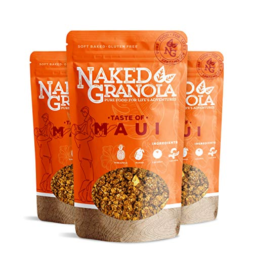 Naked Granola Taste of Maui – Pineapple, Mango, Coconut, and Cashews- Crunchy Granola - 100% Gluten Free Granola, 11 Ounce Healthy Loose Granola (Pack Of 3)