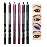 SuperThinker 6 Colors Eyeliner Pen Set,Pearl Eyeliner Kit Metallic Eyeliner Pencil Glitter Eyeliner for Women Eye Liner Professional Eye Makeup Set Colorful Eyeliner Eye Color
