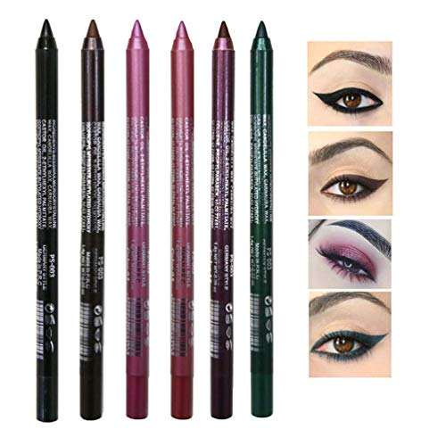 6 Colors New Cosmetic Make Up Waterproof Long Lasting Women Eye Liner Eyeliner, SuperThinker Shimmer Eye Makeup highlighter Eye Liner Pen Eyeshadow Pencil (Color A Set)