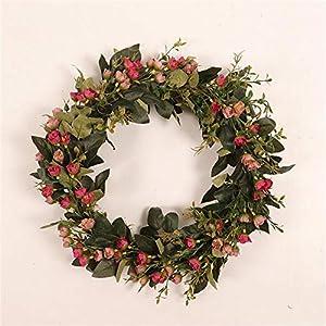 Silk Flower Arrangements Easter Wreath Simulation Fragrant Snowball Flower Wreath Door Hanging Plant Decoration Artificial Garland Pendants Wedding Decor Wreath Window Door Hanging Ornaments and Gift Ideal (A) (Pink)