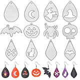 12 Pieces Halloween Earring Cutting Dies Leather Teardrop Earring Dies Halloween Decorative Earring Cut Die Bat Witches Spider Shape Metal Earrings Cutting Dies for Halloween DIY Jewelry Decors