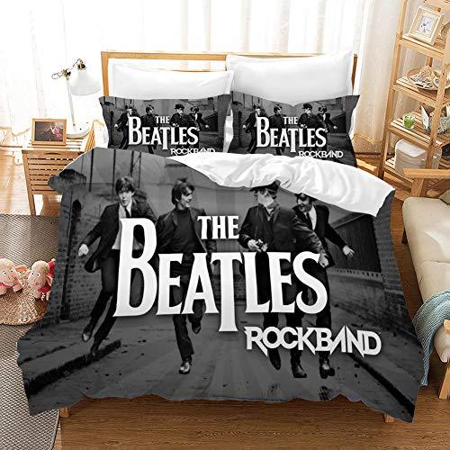 """XUEKUN Juego de Cama 3D Historieta The Beatles Impresión Microfibra Funda Nórdica 3 Piezas con 2 Fundas De Almohada para Regalos J-GB/AU Single53*79""""(140 * 210cm)"""