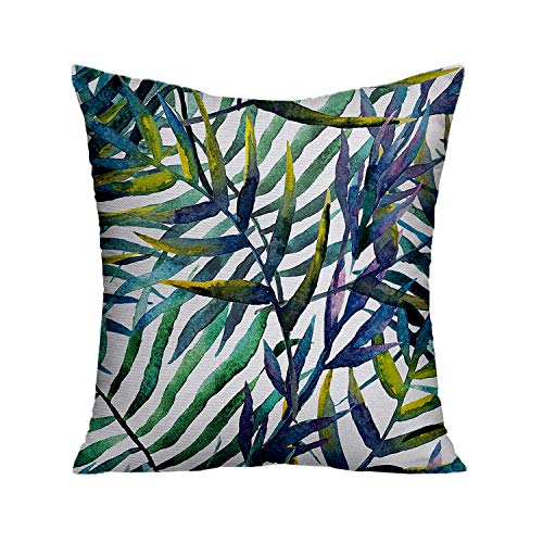 Jagfhhs Leaf Throw Pillow Cushion Cover by,Watercolor Artwork of Tropical Island Vegetation Colorful Palm Leaves,Decorative Square Accent Pillow Case,Purple Blue and Light Green 16x16 inch