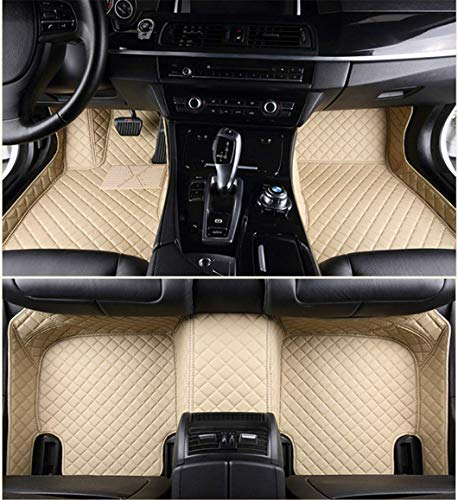 Jiahe Car Floor Mats for Cadillac STS 2001-2009 Full Covered Advanced Performance Leather Carpet Auto All Weather Protection Front & Rear Liner Set Beige