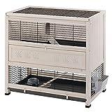 Ferplast Clapier COTTAGE en bois FSC, Cage pour lapins, 2 étages spacieux. Accessoires inclus
