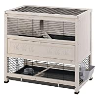 Large indoor rabbit hutch on two-floors, which comes complete with a rabbit house. Hinged roof totally liftable Sturdy structure made of FSC certificated wood, sourced from forests managed in a eco-sustainable way, treated with special non-toxic pain...
